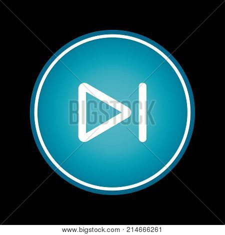 Skip to the end or next file track chapter button blue vector icon symbol. Black background