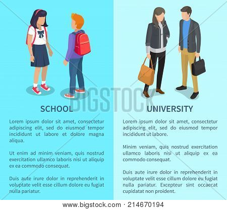 School and university collection of posters with inscriptions. Isolated vector illustration of young and adult students talking on light blue