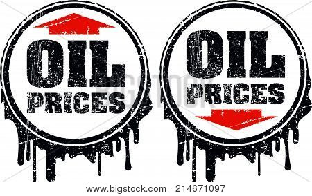 Pair of oil prices grunge design with up and down arrow showing a decline and rise in oil prices