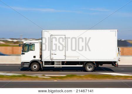Refrigerator Truck In Motion
