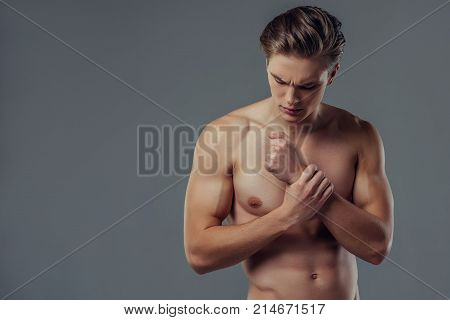 Handsome Man On Grey Background