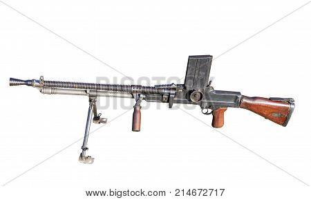 the Old Machine Gun on white background