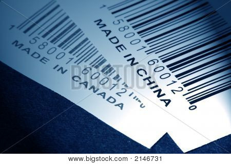 Made in China or Canada and barcode business concept poster