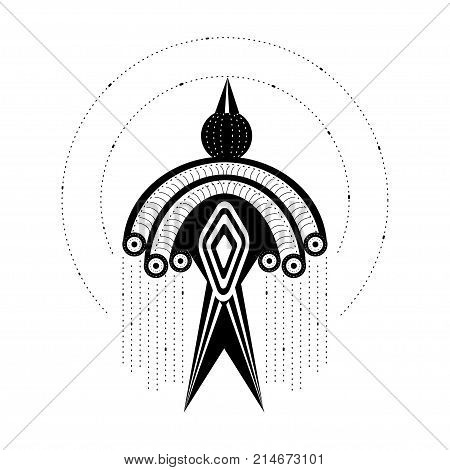 Tribal pattern bird. Stock vector illustration of ornated decorated bird in ethnic minimalistic style isolated on white background.