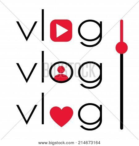 Vlog video blogging logo set with red element. Stock vector illustration for online broadcast social media channel live stream
