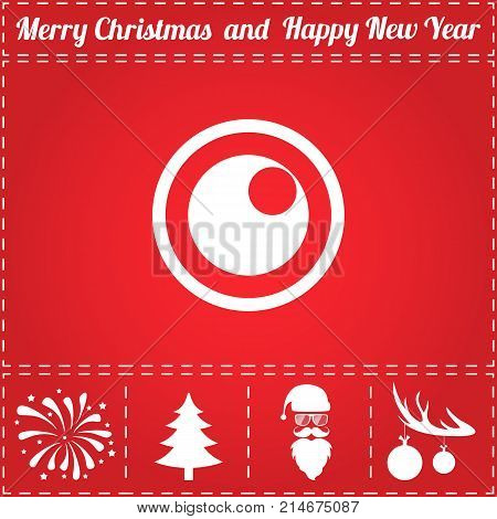 Peephole Icon Vector. And bonus symbol for New Year - Santa Claus, Christmas Tree, Firework, Balls on deer antlers