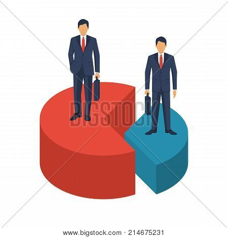 Market share business concept. Businessmen in suits with briefcase standing on pie chart. Economic financial share profit. Vector illustration flat design. Isolated on white background. Competing.
