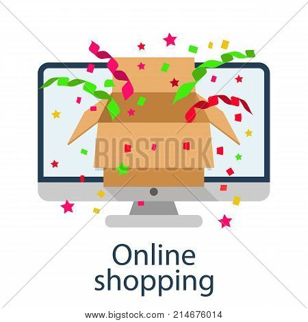 Online shopping concept. Vector illustration minimal design. Computer mouse connect to basket. Modern technology e-shopping. Purchases in internet. E-commerce. Gift in trolley.