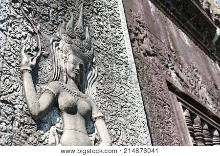 Siem Reap, Cambodia - Dec 05 2016: Relief At Angkor Wat. A Famous Historical Site(unesco World Herit