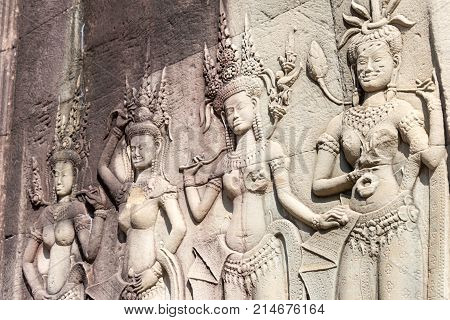 Siem Reap, Cambodia - Dec 10 2016: Relief At Angkor Wat. A Famous Historical Site(unesco World Herit