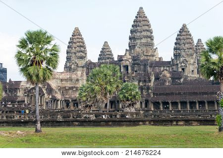 Siem Reap, Cambodia - Dec 10 2016: Angkor Wat. A Famous Historical Site(unesco World Heritage) In An