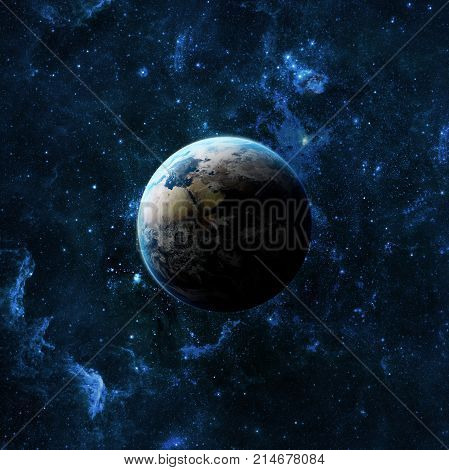 Earth planet in space over galaxy stars. Elements of this image furnished by NASA