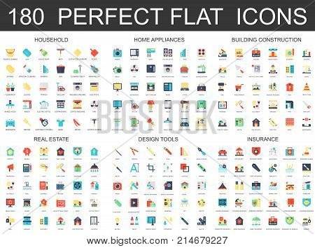 180 modern flat icons set of household, home appliances, building construction, real estate, design tools, insurance icons