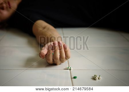 Suicide Death Man By Overdosing Pills.