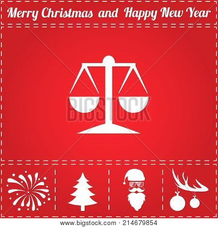 Scales Icon Vector. And bonus symbol for New Year - Santa Claus, Christmas Tree, Firework, Balls on deer antlers