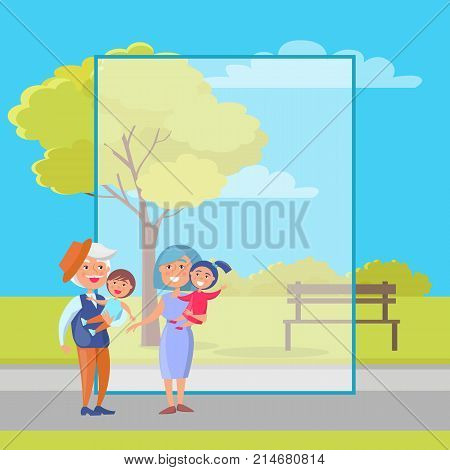 Happy grandparents day poster with senior couple holding children on hand, grandpa and grandma with kids vector vector with frame for text.