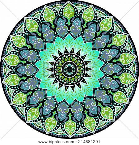 Drawing of a floral mandala with turquoise, black and green colors on a white background. Hand drawn tribal vector stock illustration