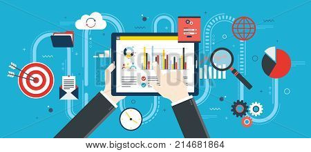 Flat design vector illustration concept of financial investment analytics with growth report. Security and cloud data. Calculations and graphs of gains on the stock market and real cash earnings. Successful business.