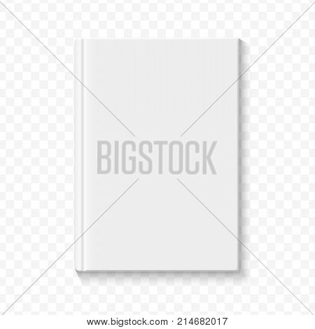 Clear white blank book cover template on the alpha transperant background with smooth soft shadows. Vector.