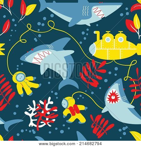 Underwater adventure seamless pattern with sharks submarine and divers. Animal and nature wallpaper. Marine wildlife flat style background.