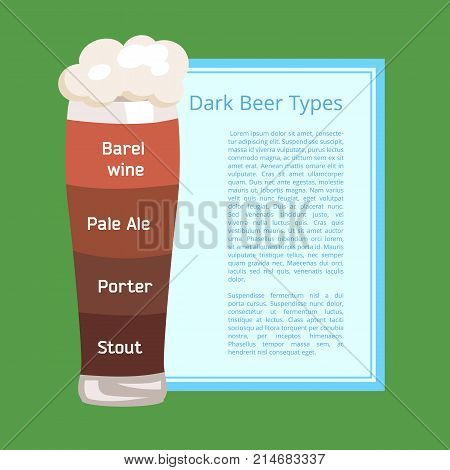 Dark beer types poster with green background. Vector illustration of foamy pilsner glass with layers of various ale and lager styles