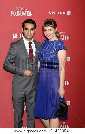 LOS ANGELES - NOV 9:  Kumail Nanjiani, Emily V Gordon at the Patron of the Artists Awards 2017 at Wallis Annenberg Centeron November 9, 2017 in Beverly Hills, CA
