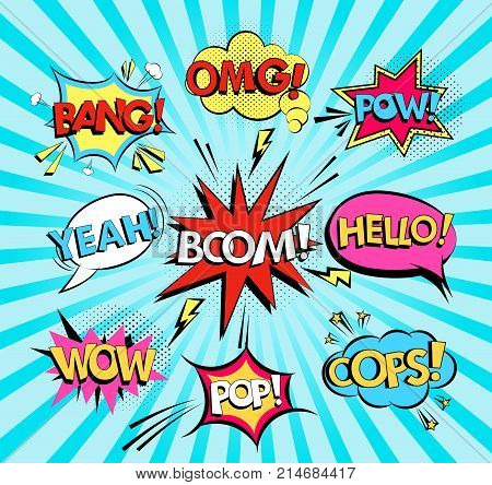 Set of comic speech bubbles with text Wow, Omg, Boom, Hello, Yeah, Bang, Oops, Pop, Pow. Pop art style vector illustration.
