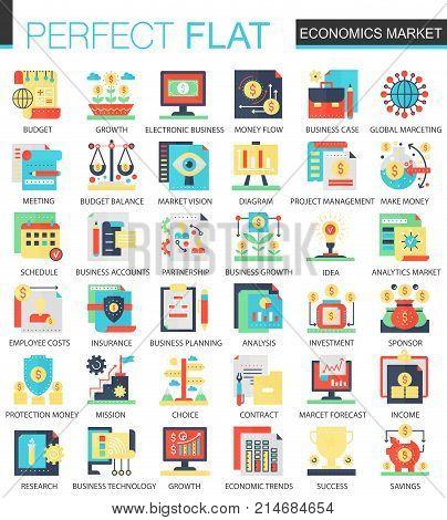 Vector Economics market complex flat icon concept. Web infographic design icons