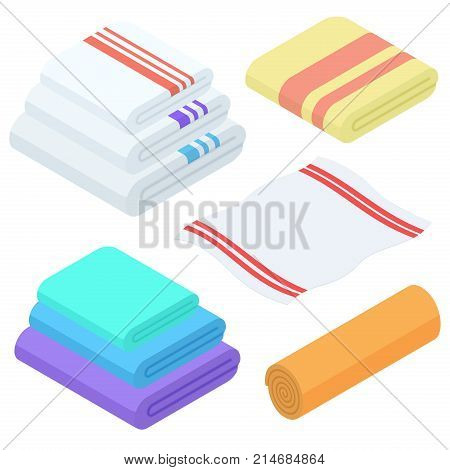 Cartoon isometric towels vector set. Cloth folded towel for bath