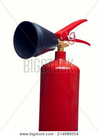 Close-up image of red fire extinguisher