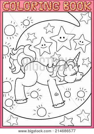 Coloring book page. Cute little unicorn is sleeping on the moon from fairy tale. Cartoon vector illustration