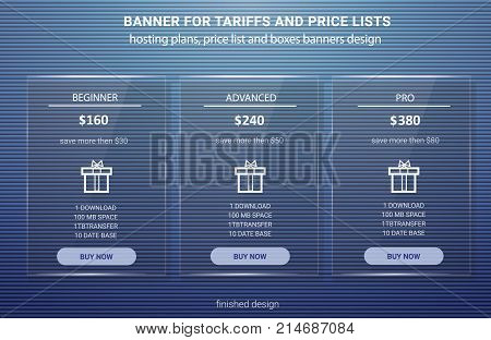 Banner for tariffs, a set of pricing tables and boxes. Panel glass.