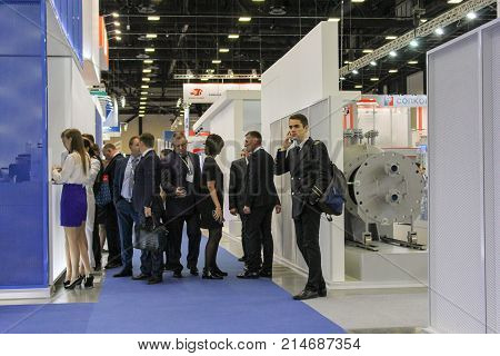 St. Petersburg, Russia - 3 October, Visitors to the forum in the aisles, 3 October, 2017. Participants and visitors of the annual St. Petersburg Gas Forum.