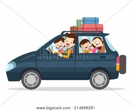 Traveling family. A young family with children go on a trip by car.People set father mother and children sitting in Car.