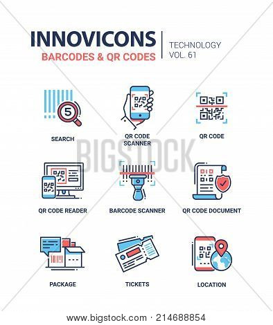 Barcodes and QR codes - line design icons set. Search, scanner, reader, document, package, tickets, location. Collection of high quality blue and red web elements. Technology concept