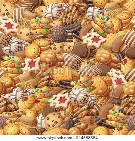 Various cookies seamless pattern. Sweet food cartoon vector illustration