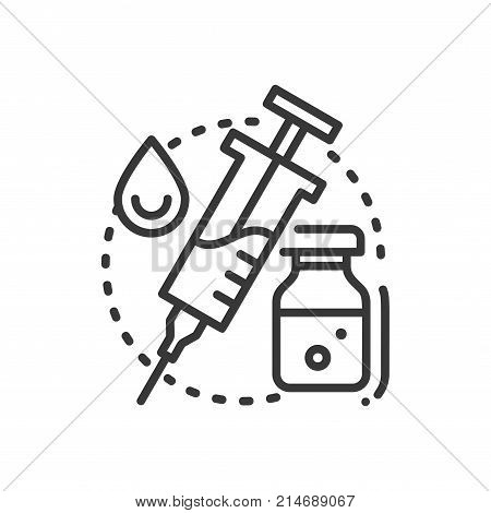 Vaccination - line design single isolated icon on white background. An image of syringe, animal lymph and drop. High quality black pictogram