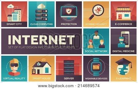 Internet - set of flat design infographics elements. Smart city and house, cloud computing, protection, security, e-commerce, social network, digital medicine, server, wearable devices, e-learning