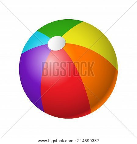 Beachball - modern vector realistic isolated object on white background. Colorful equipment for beach volleyball. Game, sport concept. Use this high quality clip art for presentations, banners, flyers