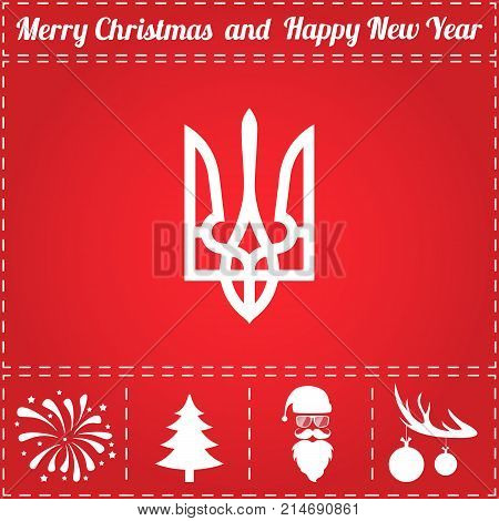 Trident Icon Vector. And bonus symbol for New Year - Santa Claus, Christmas Tree, Firework, Balls on deer antlers