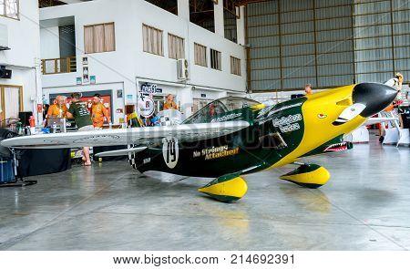 RAYONG THAILAND-NOVEMBER 18 2017 : Justin Phillipson's plane no.79