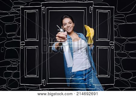 Make with inspiration. Cheerful delighted smiling housewife holding rag and cleaning window while doing spring cleaning