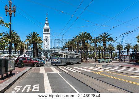 San Francisco,California,USA - June 27, 2017 : The gray streetcar in Market Street