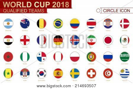 World Cup 2018 all qualified teams flags. 32 team sorted alphabetically.