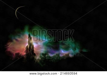Expressionism painting. Forest in the moon light. 3D rendering.