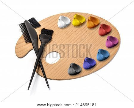 Haidresser Palette isolated on white background with color hair