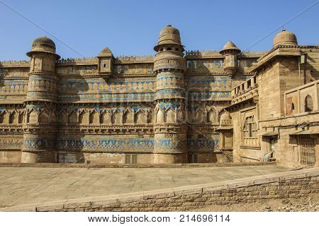 Gwalior fort in Madhya Pradesh on a sunny day India.