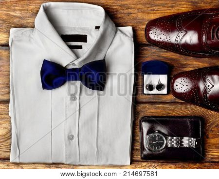Dark Brown Brogues, White Shirt And Men's Accessroies Cufflinks, Watch, Leather Belt, Leather Potmon