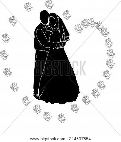 bride with a bouquet of flowers.happy married couple. Wedding Feast