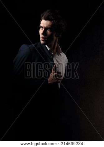 Thinking Depression Charismatic Man Looking Up On Dark Shadow Dramatic Light Background. Closeup Por